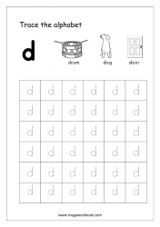 Alphabet Tracing Worksheet - Alphabet Tracing Sheets - Small Letter d