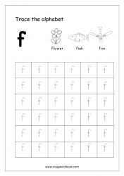 Alphabet Tracing Worksheet - Alphabet Tracing Sheets - Small Letter f
