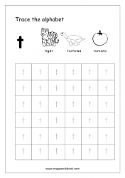 Alphabet Tracing Worksheet - Alphabet Tracing Sheets - Small Letter t