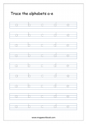 Alphabet Tracing Worksheet - Alphabet Tracing Sheets - Small Letters a-e