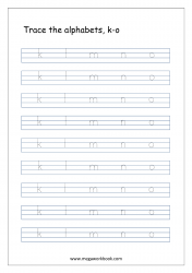 Alphabet Tracing Worksheet - Alphabet Tracing Sheets - Small Letters k-o