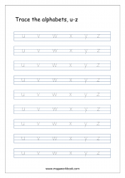 Alphabet Tracing Worksheet - Alphabet Tracing Sheets - Small Letters u-z