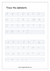 English Worksheet - Alphabet Tracing - Capital And Small Letters A-Z a-z