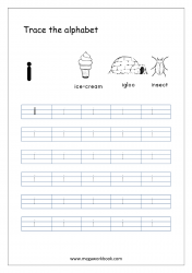 Alphabet Tracing Worksheet - Alphabet Tracing Sheets - Small Letter i