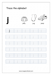 Alphabet Tracing Worksheet - Alphabet Tracing Sheets - Small Letter j