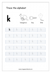 Alphabet Tracing Worksheet - Alphabet Tracing Sheets - Small Letter k