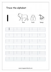 Alphabet Tracing Worksheet - Alphabet Tracing Sheets - Small Letter l