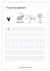 Alphabet Tracing Worksheet - Alphabet Tracing Sheets - Small Letter v
