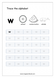 Alphabet Tracing Worksheet - Alphabet Tracing Sheets - Small Letter w