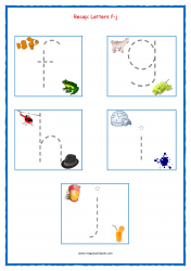 Alphabet Tracing Worksheets - Alphabet Tracing Sheets - Small Letters - Recap f-j