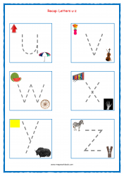 Alphabet Tracing Worksheets - Alphabet Tracing Sheets - Small Letters - Recap u-z