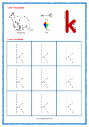 Alphabet Tracing Worksheets - Alphabet Tracing Sheet - Small k - Free Printables