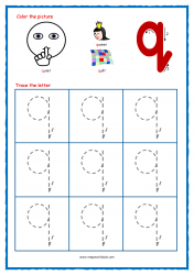 Alphabet Tracing Worksheets - Alphabet Tracing Sheet - Small q - Free Printables