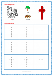 Alphabet Tracing Worksheets - Alphabet Tracing Sheet - Small t - Free Printables