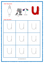 Alphabet Tracing Worksheets - Alphabet Tracing Sheet - Small u - Free Printables