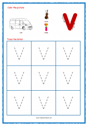 Alphabet Tracing Worksheets - Alphabet Tracing Sheet - Small v - Free Printables
