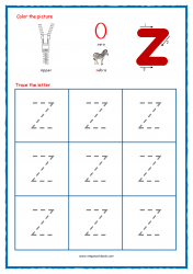Alphabet Tracing Worksheets - Alphabet Tracing Sheet - Small z - Free Printables