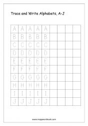 English Worksheet - Alphabet Writing - Capital Letters A-J
