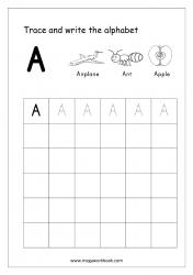 English Worksheet - Alphabet Writing - Capital Letter A