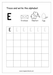 English Worksheet - Alphabet Writing - Capital Letter E