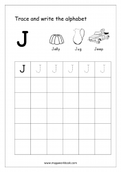 English Worksheet - Alphabet Writing - Capital Letter J