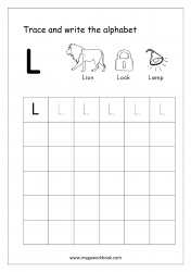 English Worksheet - Alphabet Writing - Capital Letter L
