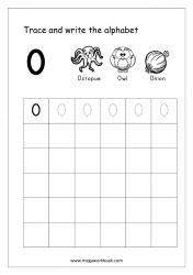 English Worksheet - Alphabet Writing - Capital Letter O