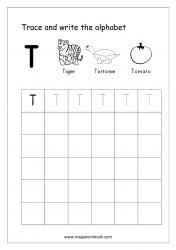 English Worksheet - Alphabet Writing - Capital Letter T