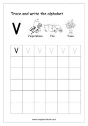 English Worksheet - Alphabet Writing - Capital Letter V