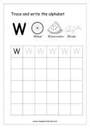 English Worksheet - Alphabet Writing - Capital Letter W