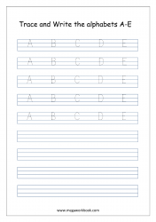 English Worksheet - Alphabet Writing - Capital Letters A-E