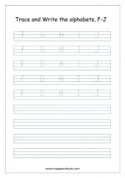 English Worksheet - Alphabet Writing - Capital Letters F-J