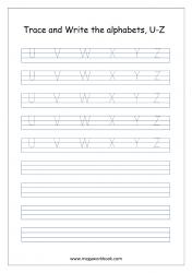 English Worksheet - Alphabet Writing - Capital Letters U-Z