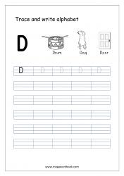 English Worksheet - Alphabet Writing - Capital Letter D