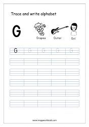 English Worksheet - Alphabet Writing - Capital Letter G