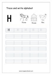 English Worksheet - Alphabet Writing - Capital Letter H