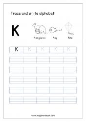English Worksheet - Alphabet Writing - Capital Letter K
