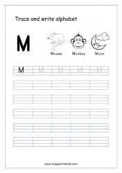 English Worksheet - Alphabet Writing - Capital Letter M