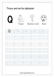 English Worksheet - Alphabet Writing - Capital Letter Q