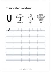 English Worksheet - Alphabet Writing - Capital Letter U