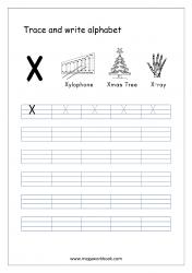 English Worksheet - Alphabet Writing - Capital Letter X