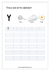 English Worksheet - Alphabet Writing - Capital Letter Y