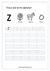 English Worksheet - Alphabet Writing - Capital Letter Z