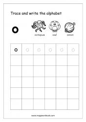 English Worksheet - Alphabet Writing - Small Letter o