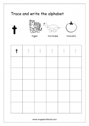 English Worksheet - Alphabet Writing - Small Letter t