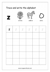 English Worksheet - Alphabet Writing - Small Letter z