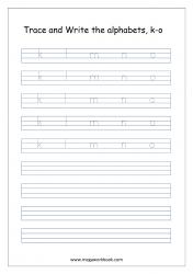 Alphabet Writing - Alphabet Writing Worksheets - Lowercase/Small Letters k-o