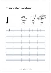 English Worksheet - Alphabet Writing - Small Letter j