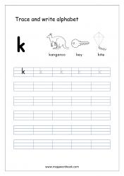 English Worksheet - Alphabet Writing - Small Letter k