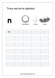 English Worksheet - Alphabet Writing - Small Letter n